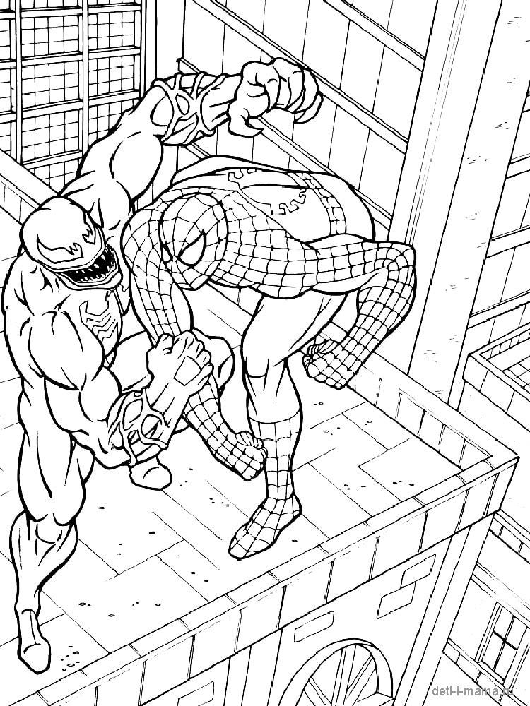 Человек паук на крыше со злодеем