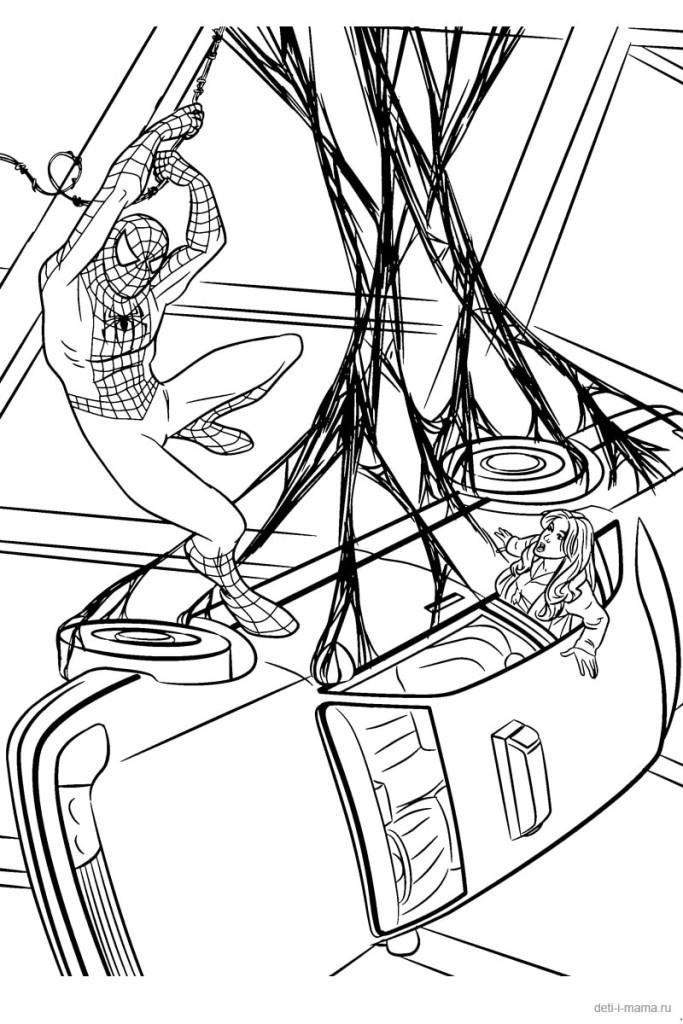Спайдермен и висящая машина на паутине