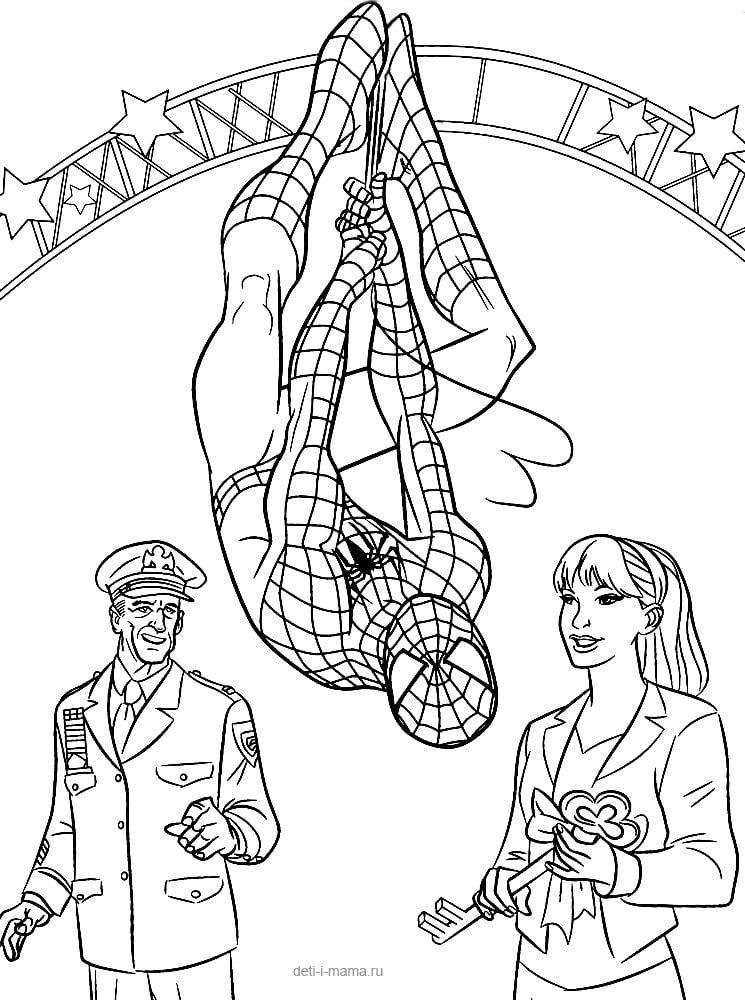 Человек-паук и девушка раскраска