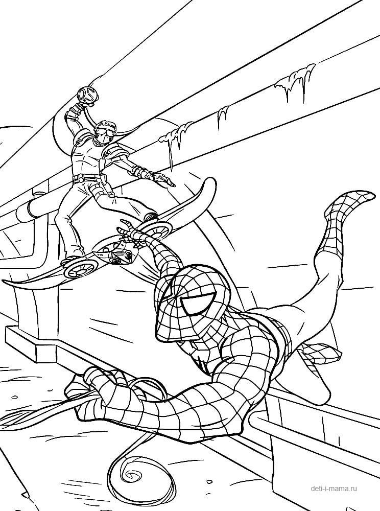 Раскраска Спайдермен и злодей