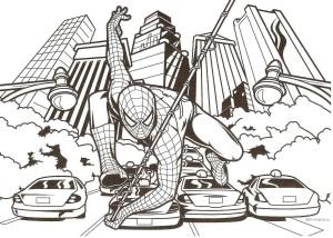 Человек паук в городе раскраска
