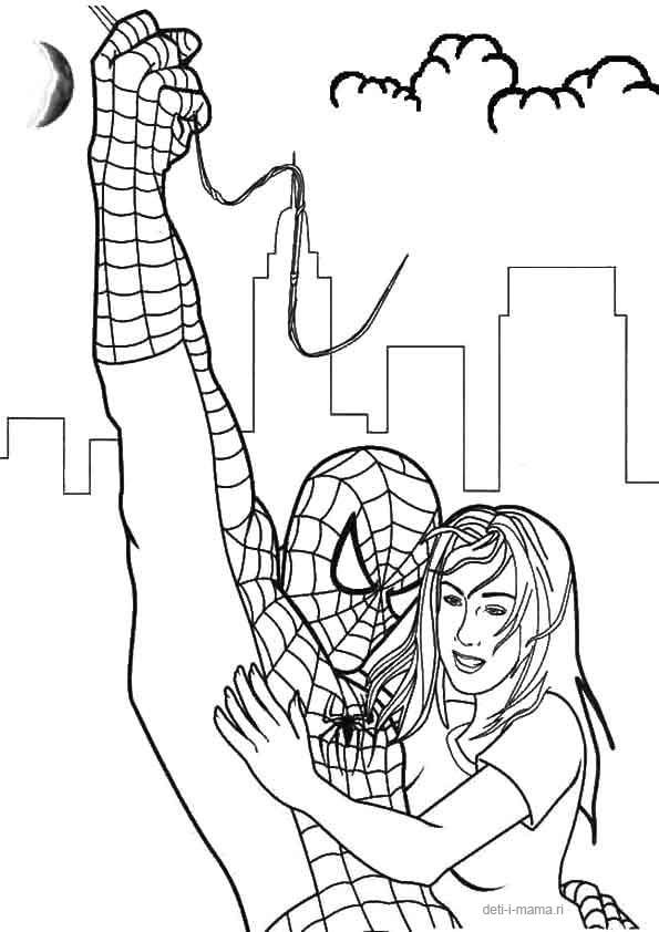 Раскраска Человек-паук с девушкой