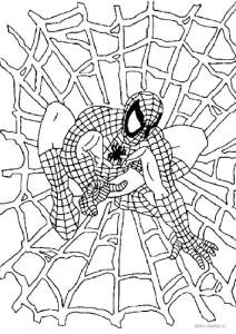 Раскраска Человек-паук в паутине