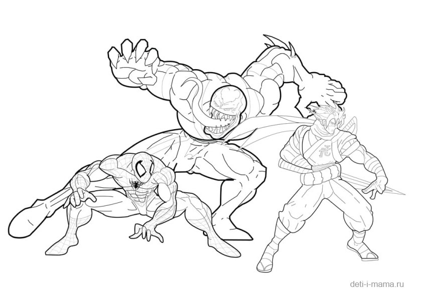Раскраска Человека-паука со злодеями