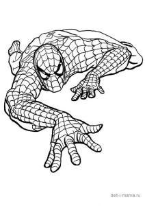 Человек-паук ползет, раскраска