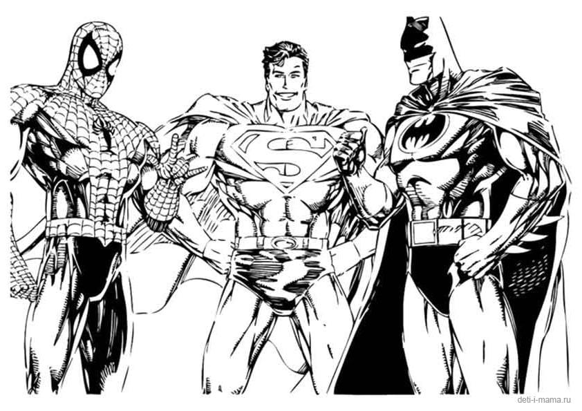 Раскраска Человек-паук, Супермен, Бэтмен