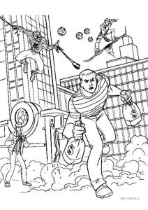 Раскраска Человек-паук ловит грабителя