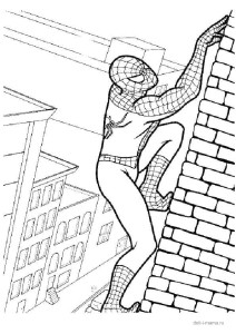 Человек-паук взбирается на небоскреб