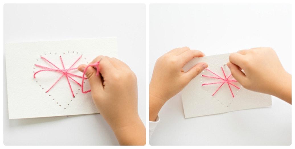 Валентинка из ниток и бумаги