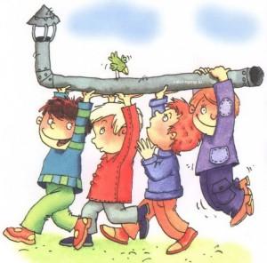 Дети несут трубу