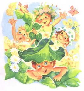 Дети летом в цветах