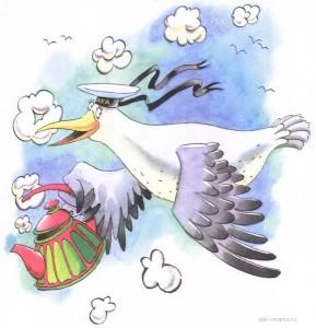 Чайка с чайником летит