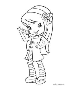 Раскраска девочки, которая поёт в микрофон