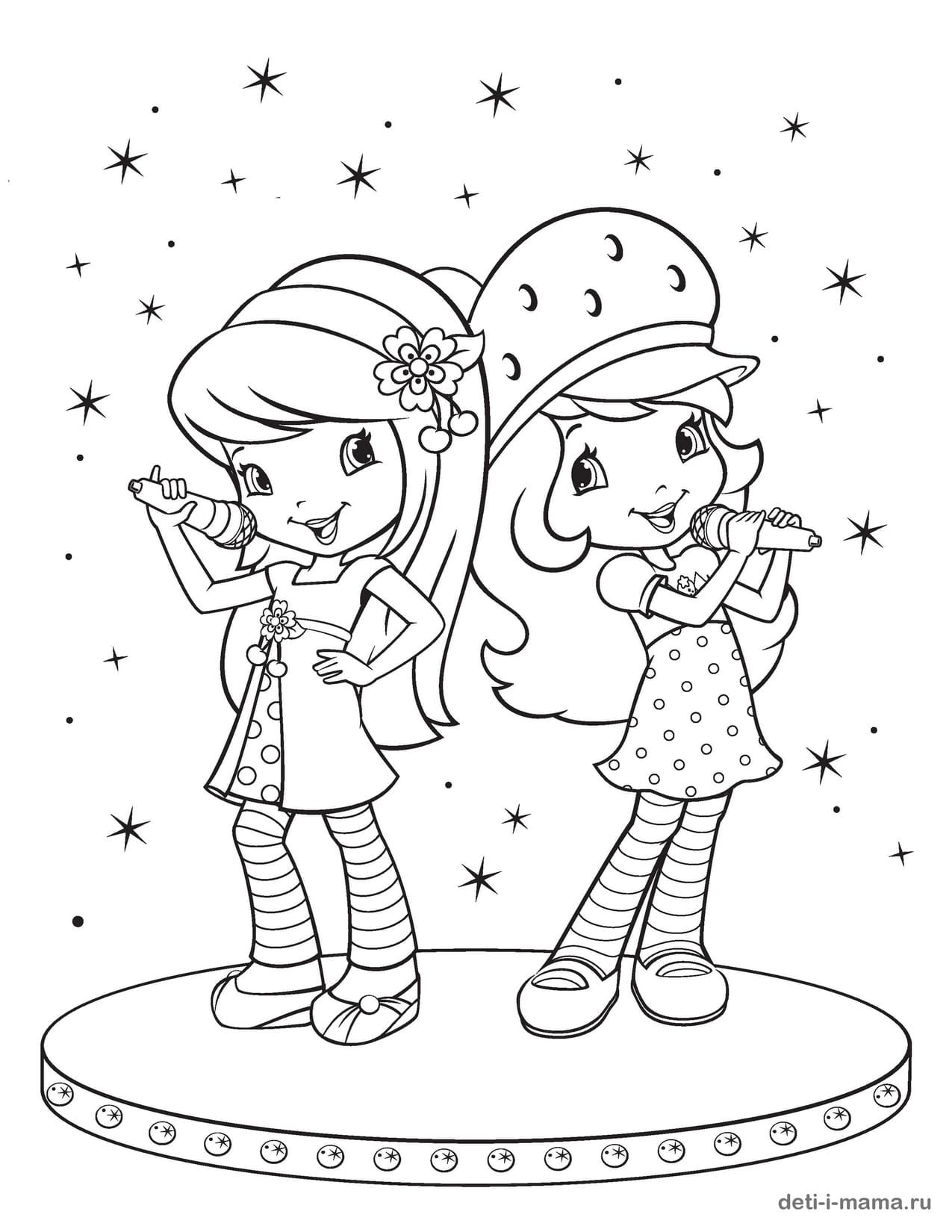 Раскраска девочек, которые поют