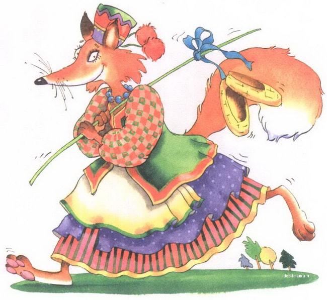 Картинка к сказке лиса лапотница