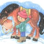 Картинка мальчика и лошадки зимой