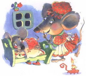 Мама мышь укладывает сыночка мышонка