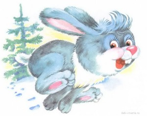 Заяц бежит по лесу
