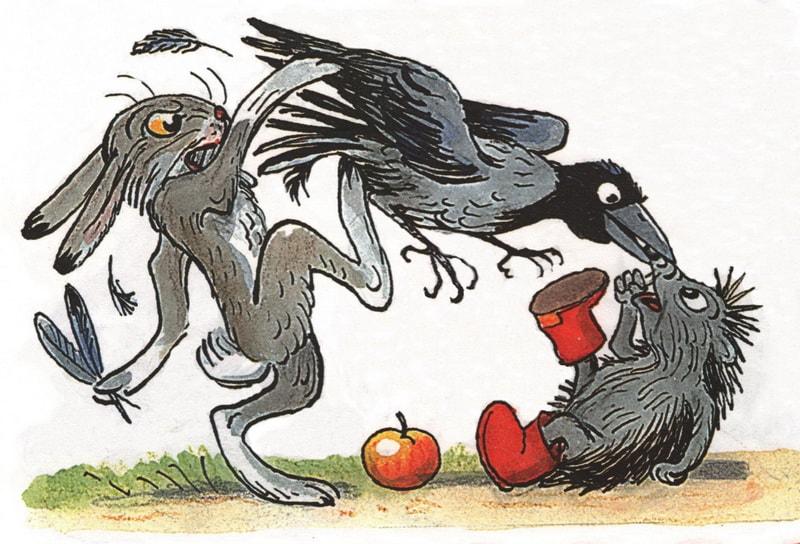 Заяц, ворона и еж дерутся
