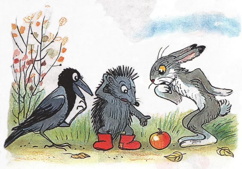 Яблоко, еж, заяц, ворона