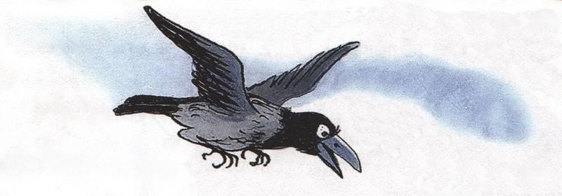 Рисунок летящей вороны