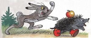 Заяц догоняет ёжика.