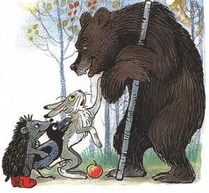 Медведь, заяц, еж и ворона