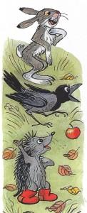Рисунок зайца, вороны, ежа