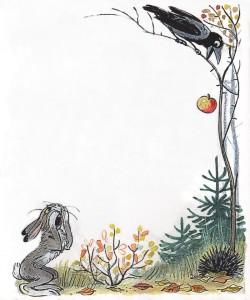 Картинка зайца, вороны, ежа
