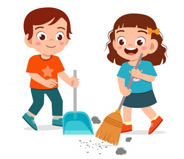 мальчик и девочка убирают